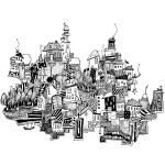 Maria Persson (SE) Antenna Town, A4 - Ink - 2014 Black & White